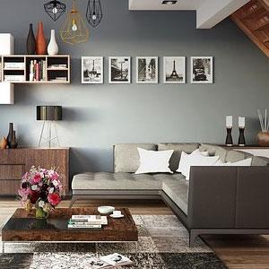 L字型ソファを置いたオシャレなお部屋