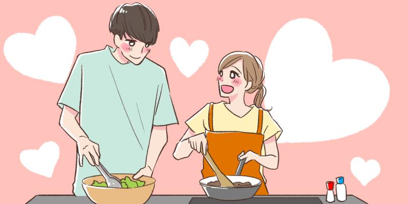 一緒に料理をするカップルのイラスト
