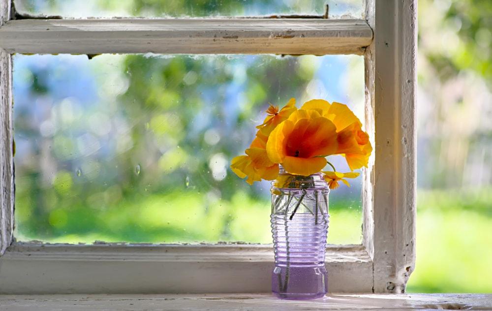 窓際に置いてある花瓶
