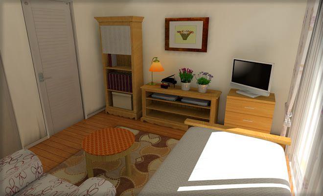 ドア近くに背の高い家具を配置したレイアウト