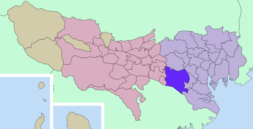 世田谷区の位置を示した地図