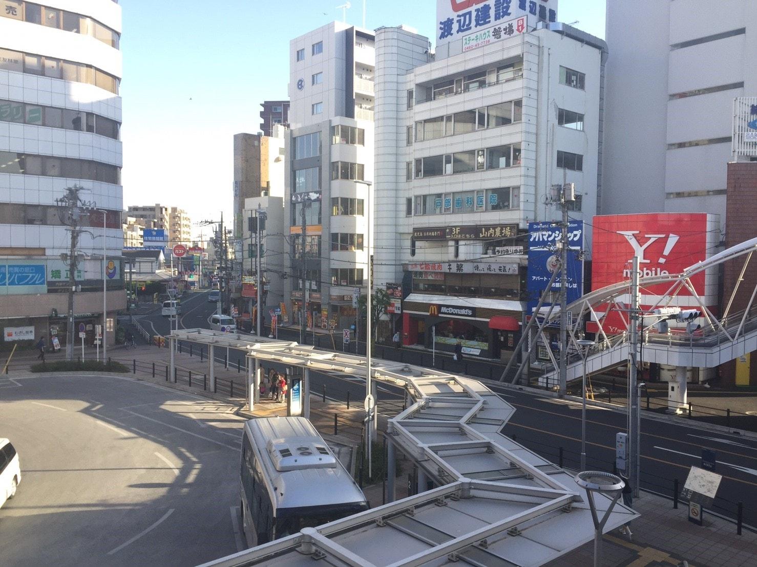 ビルやロータリーがある駅前の風景