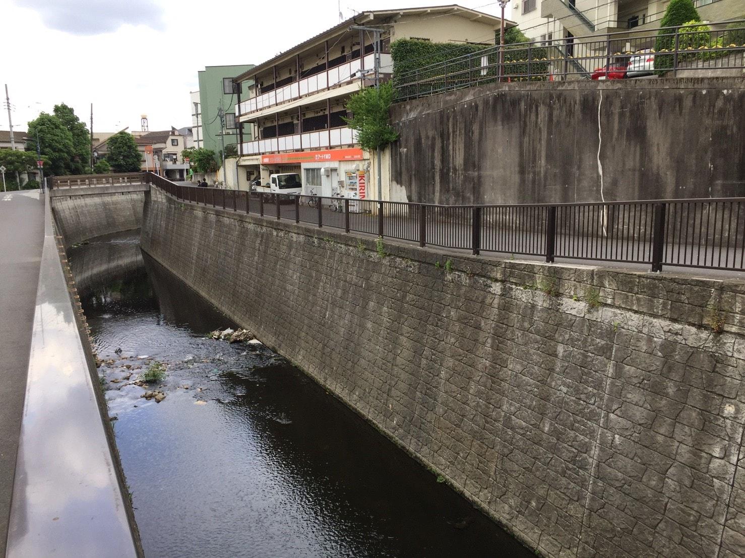 住宅街の中を通っている川