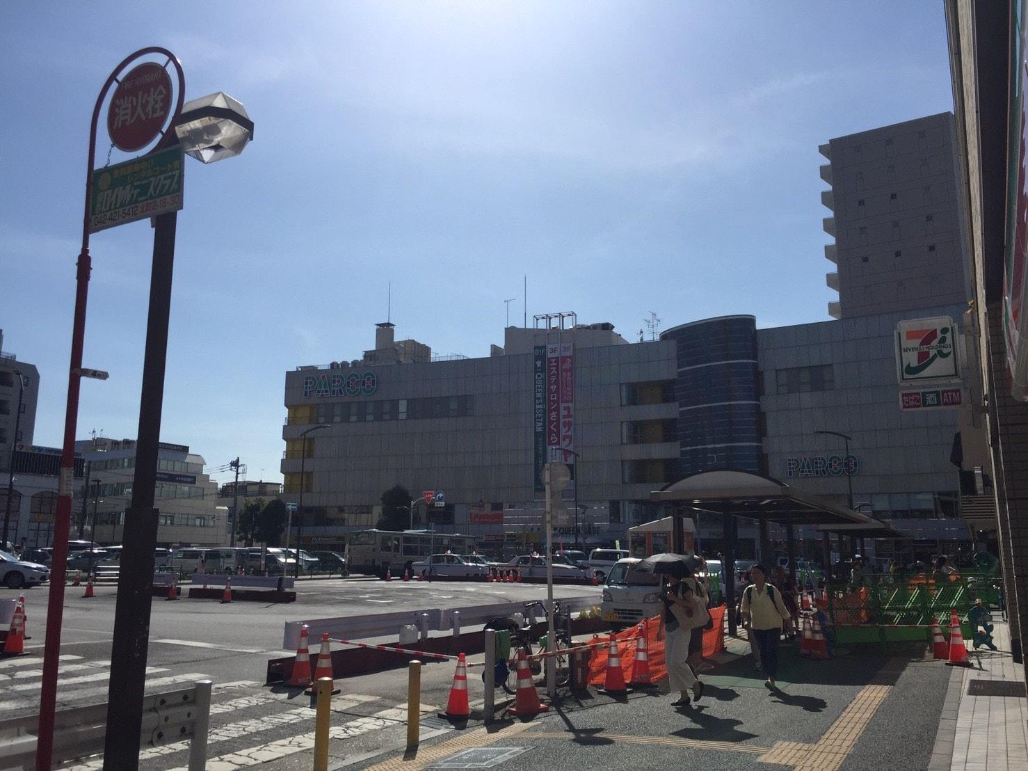 お店が多く栄えている駅前の風景