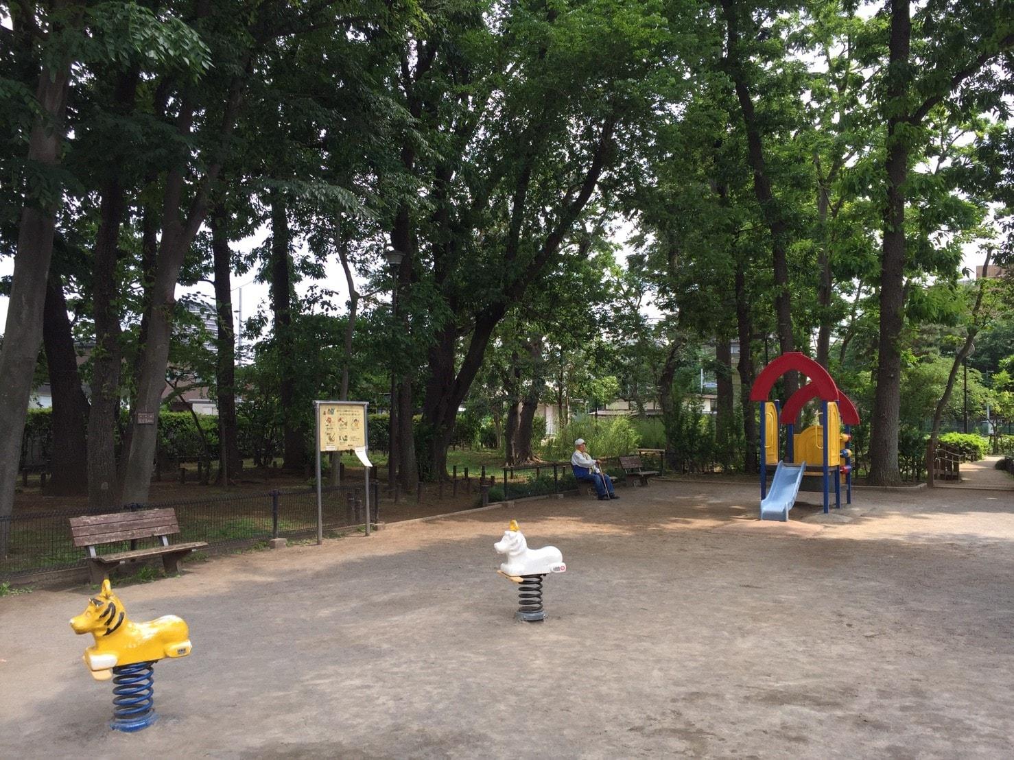 木々に囲まれた子ども向けの公園