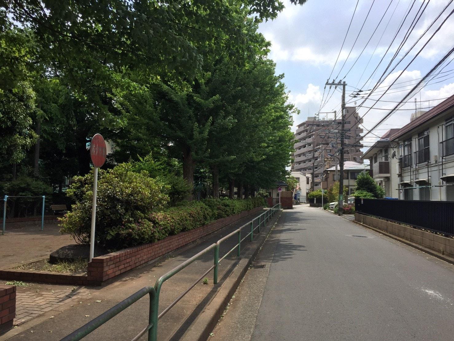 木がたくさん生えている住宅街の風景
