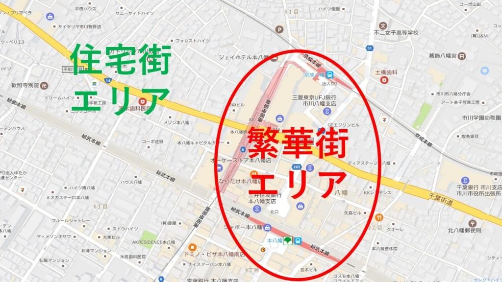 本八幡駅周辺の図