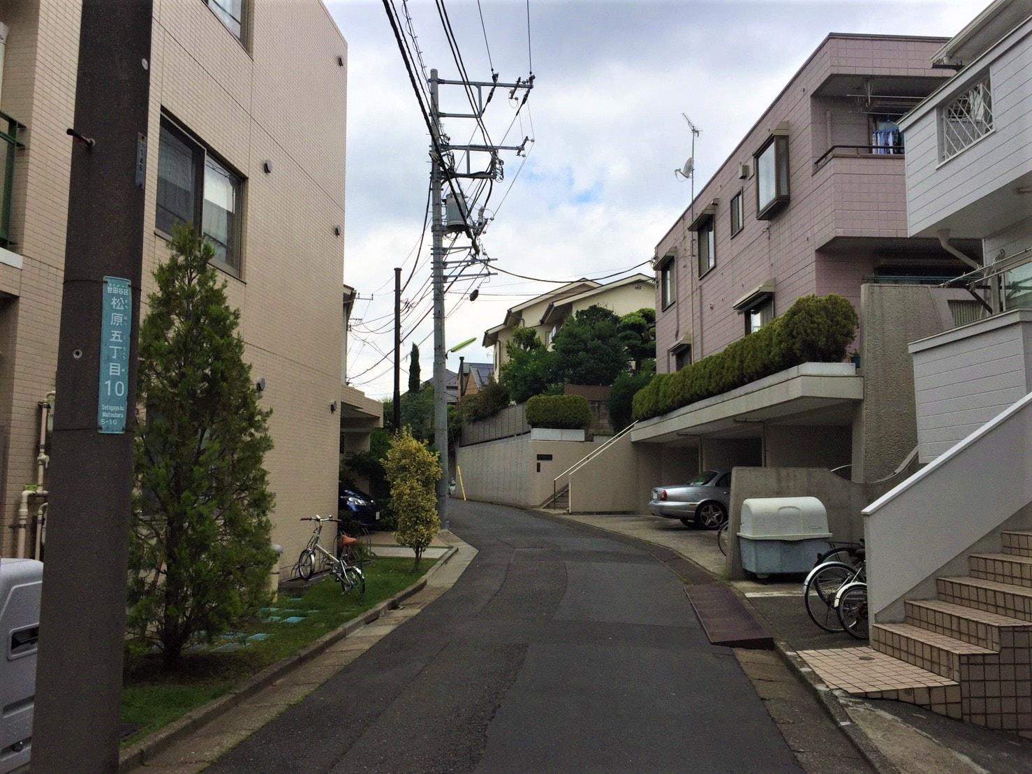 住宅街のゆるやかな坂