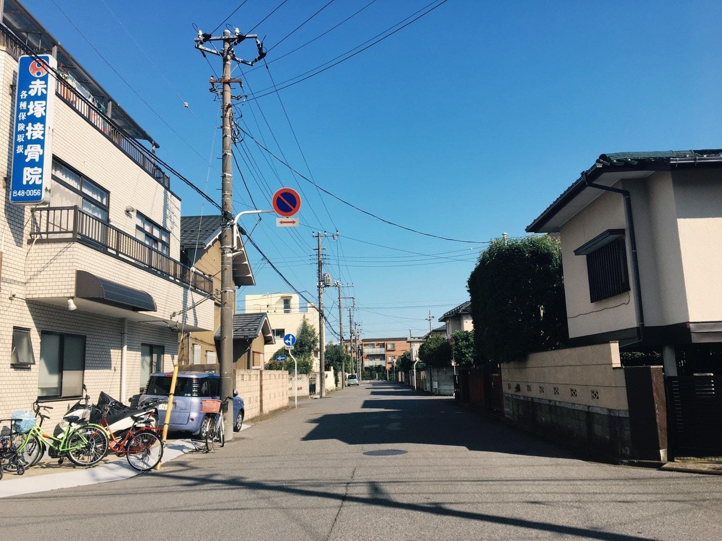 稲毛駅の西側の住宅街の様子
