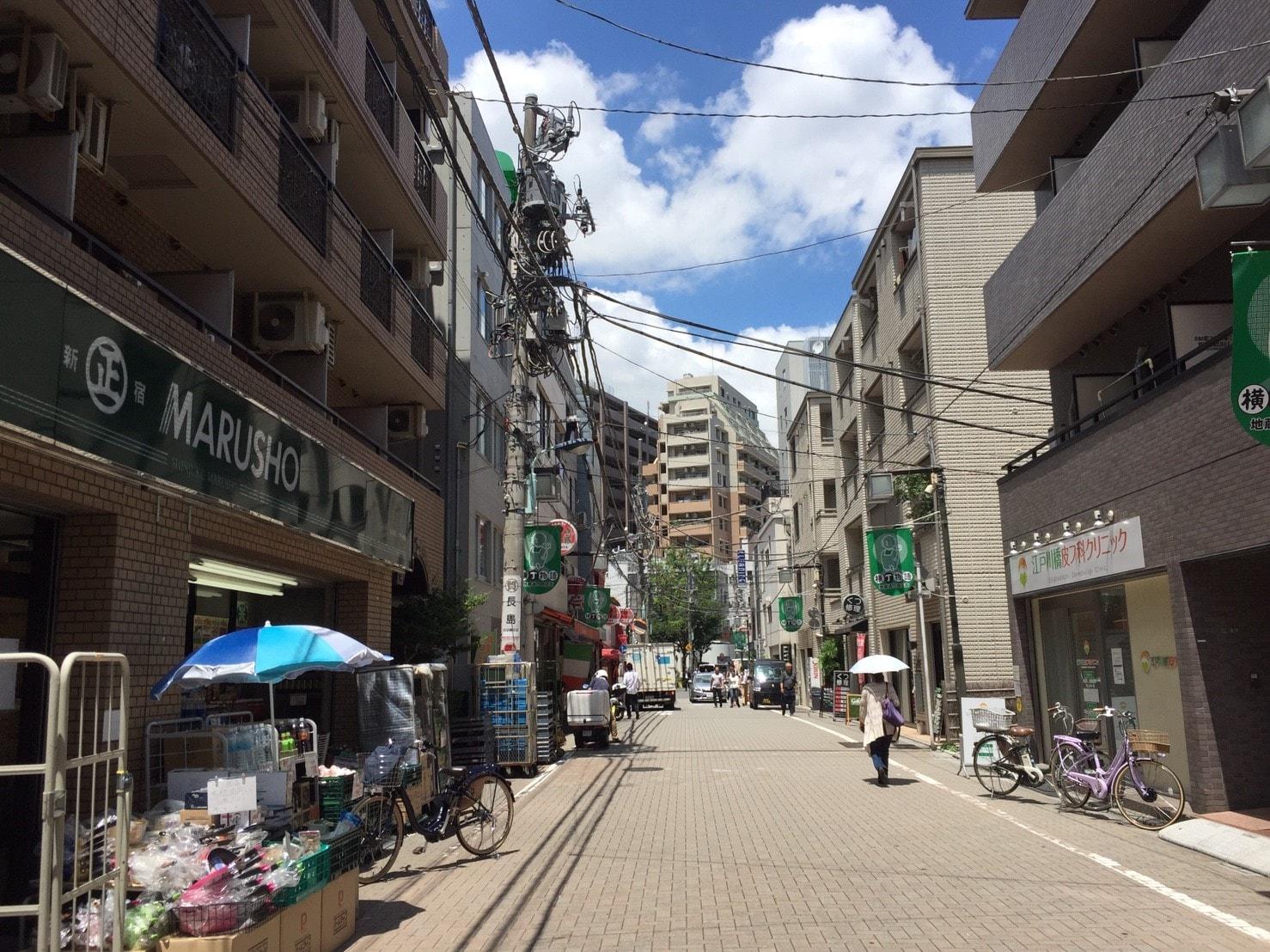 江戸川橋の商店街の風景