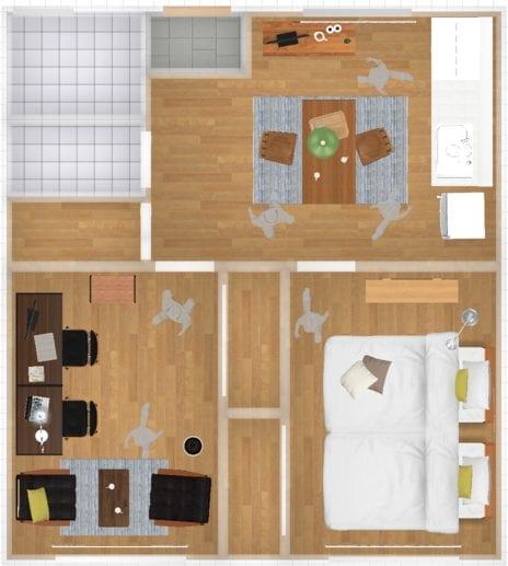 寝室が一緒のレイアウト例