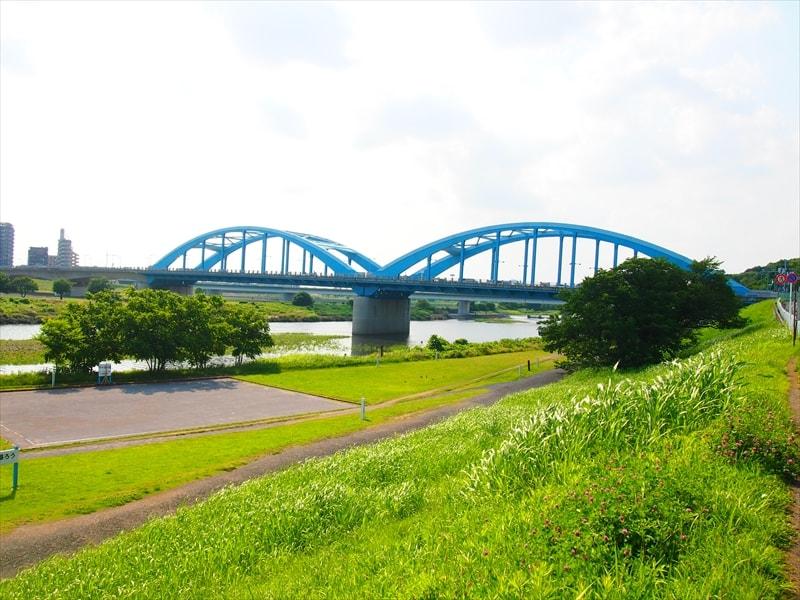 多摩川の河川敷の画像