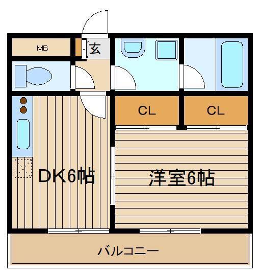 DKと居室の両方からバルコニーへ行ける間取り