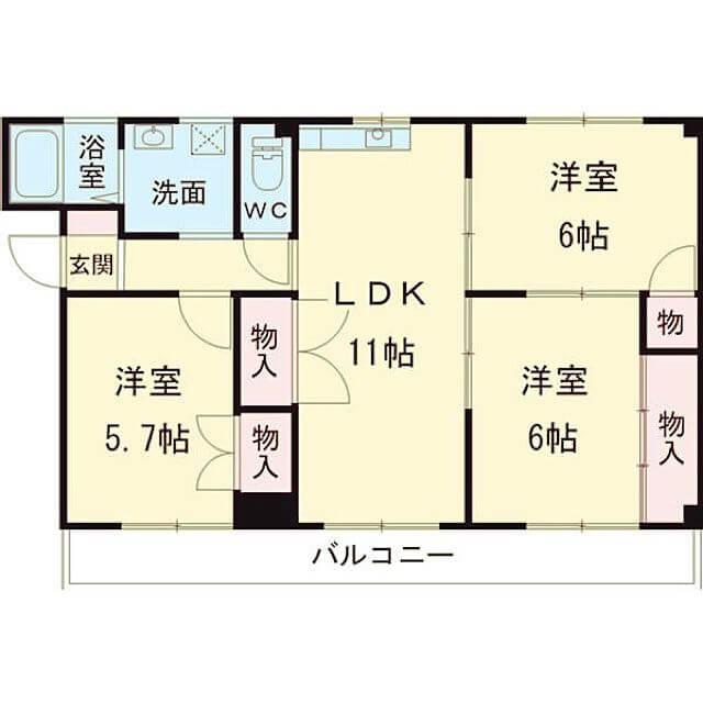 収納の少ない1部屋を物置にできる3LDK