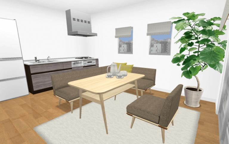 ダイニングテーブルとソファを合わせるレイアウト例