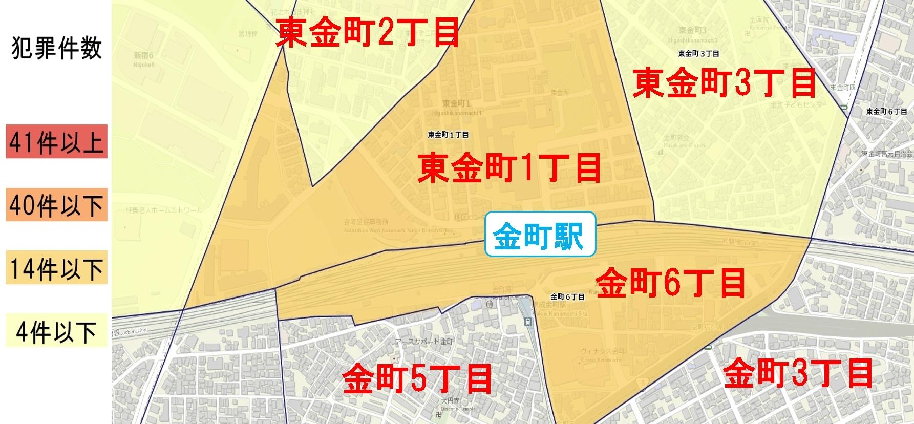 金町駅周辺の粗暴犯の犯罪件数マップ