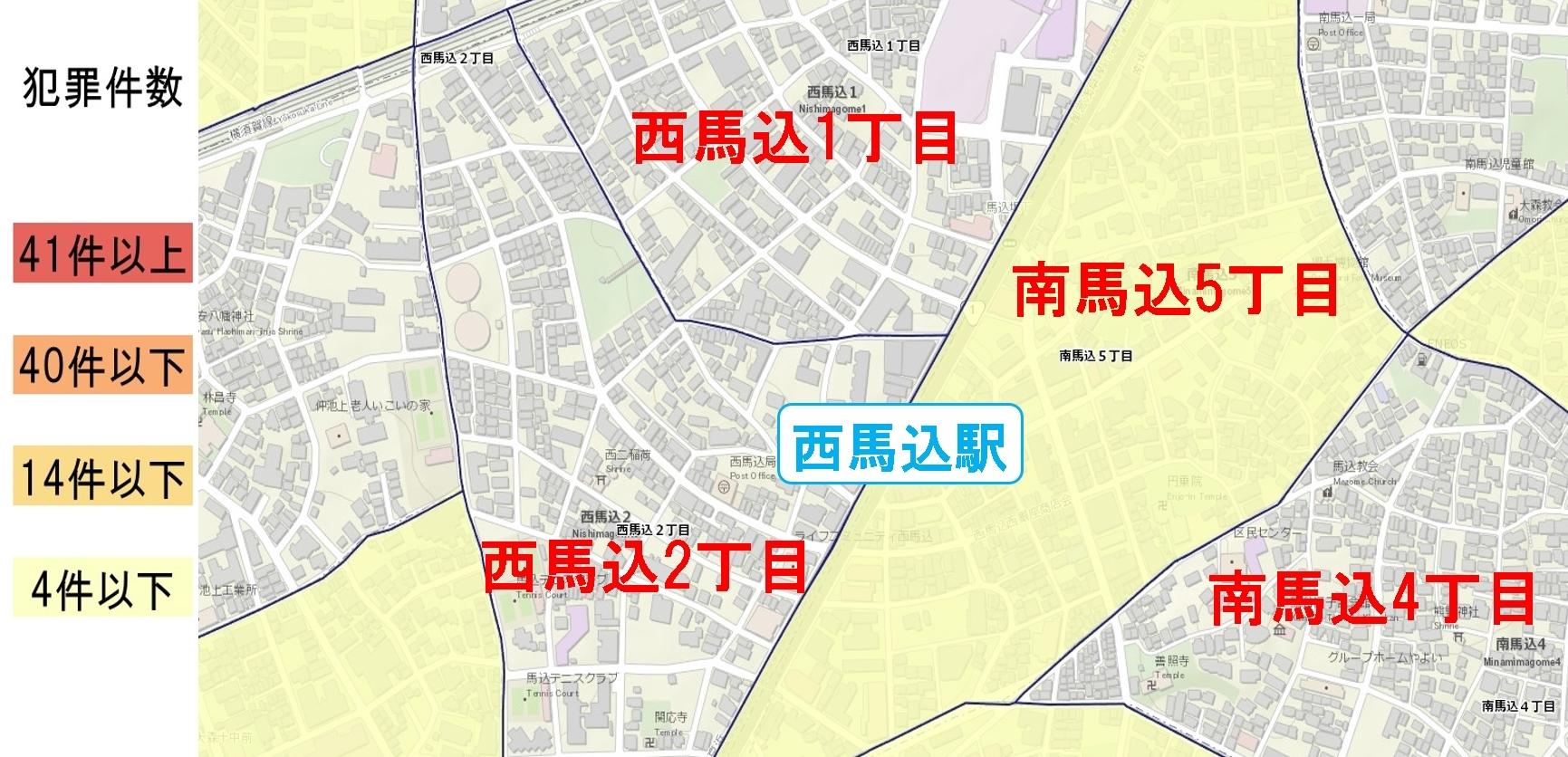 西馬込駅周辺の粗暴犯の犯罪件数マップ