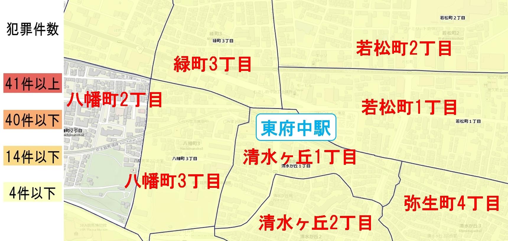 東府中駅周辺の粗暴犯の犯罪件数マップ