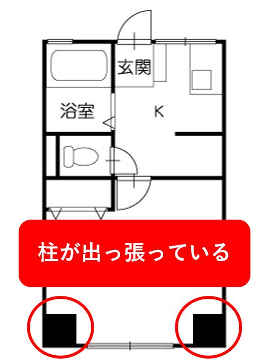 柱があるマンションの例