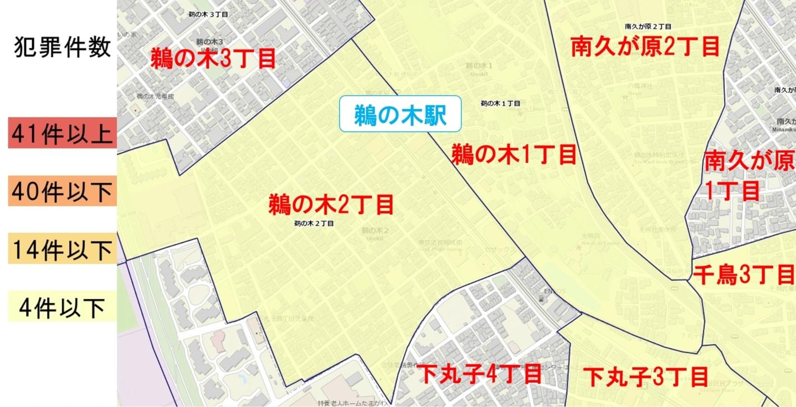 鵜の木駅周辺の粗暴犯の犯罪件数マップ