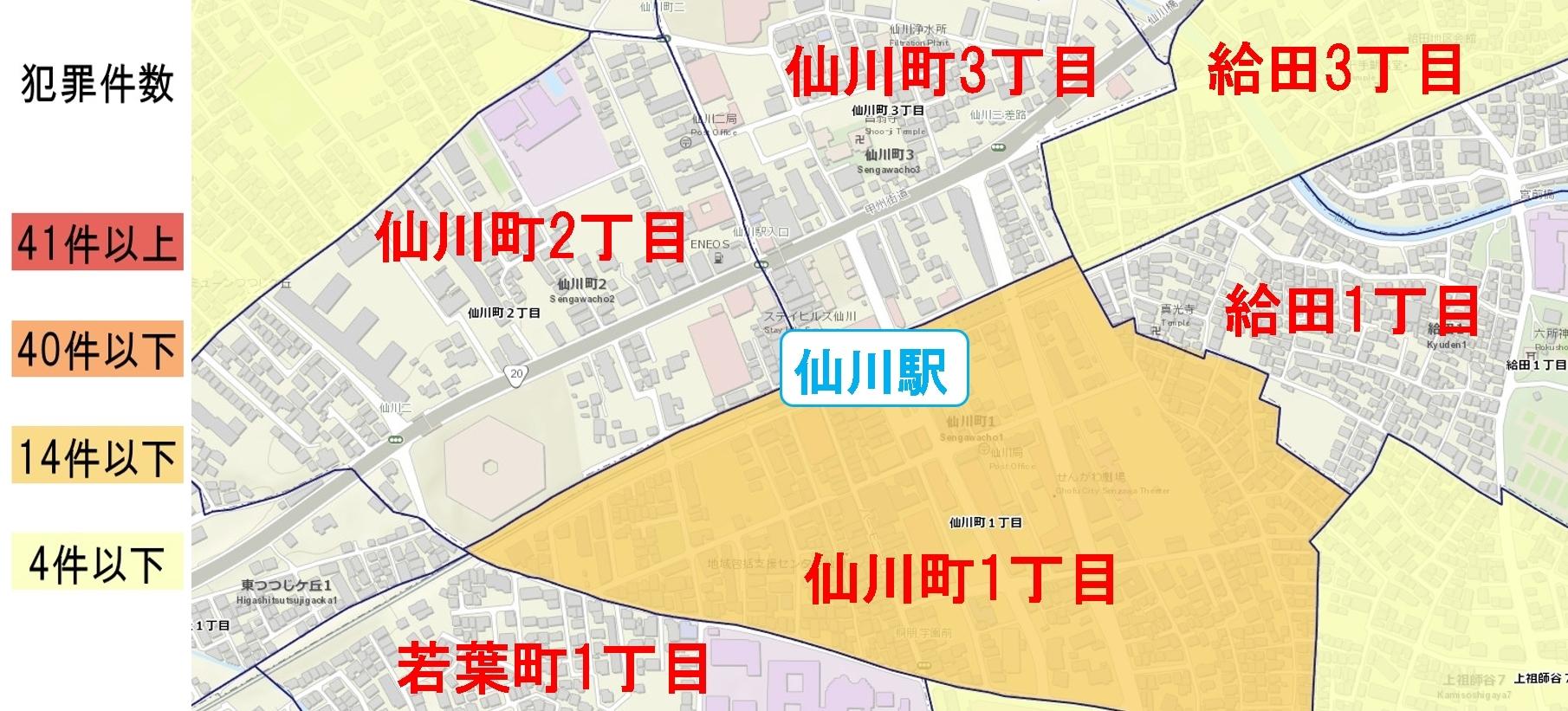 仙川駅周辺の粗暴犯の犯罪件数マップ