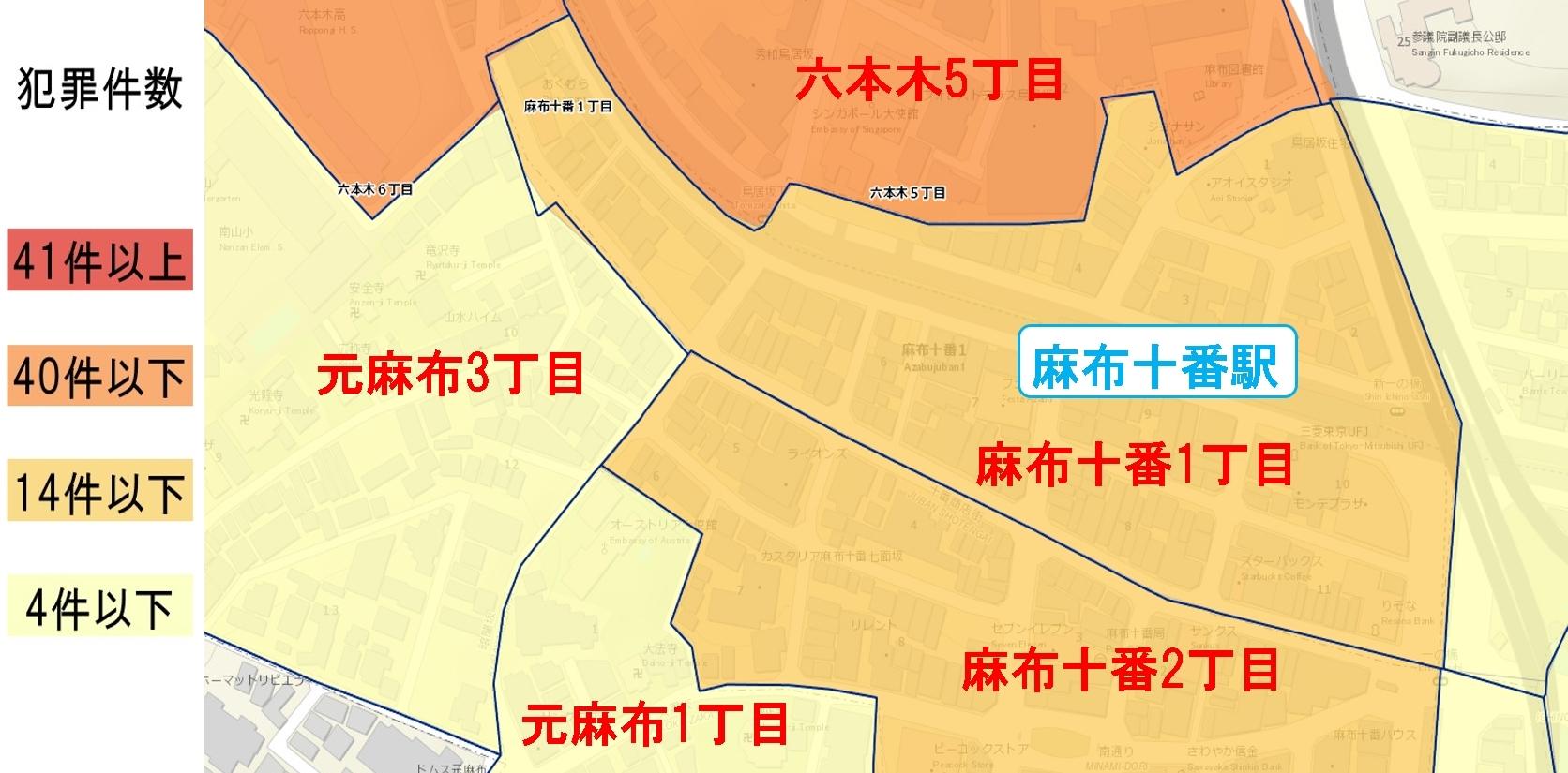 麻布十番駅周辺の粗暴犯の犯罪件数マップ