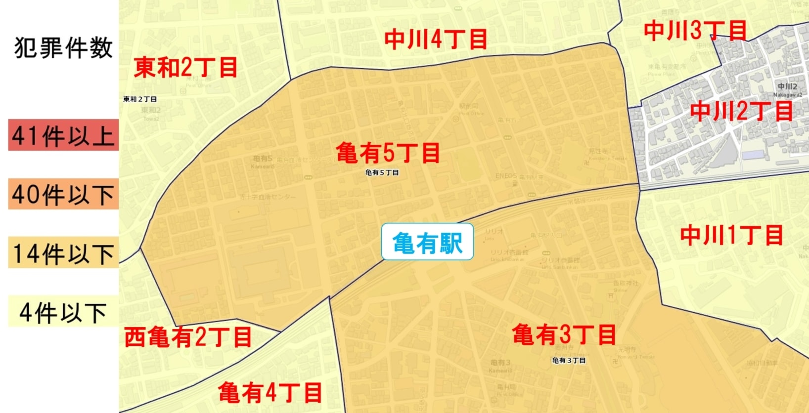 亀有駅周辺の粗暴犯の犯罪件数マップ
