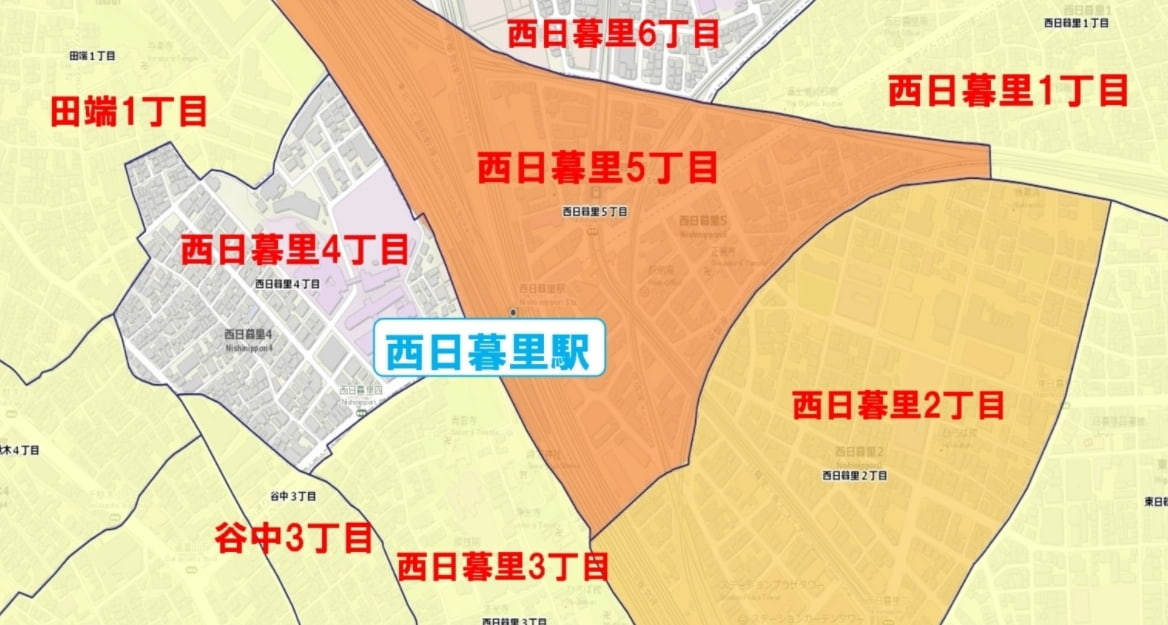 西日暮里駅周辺の粗暴犯の犯罪件数マップ