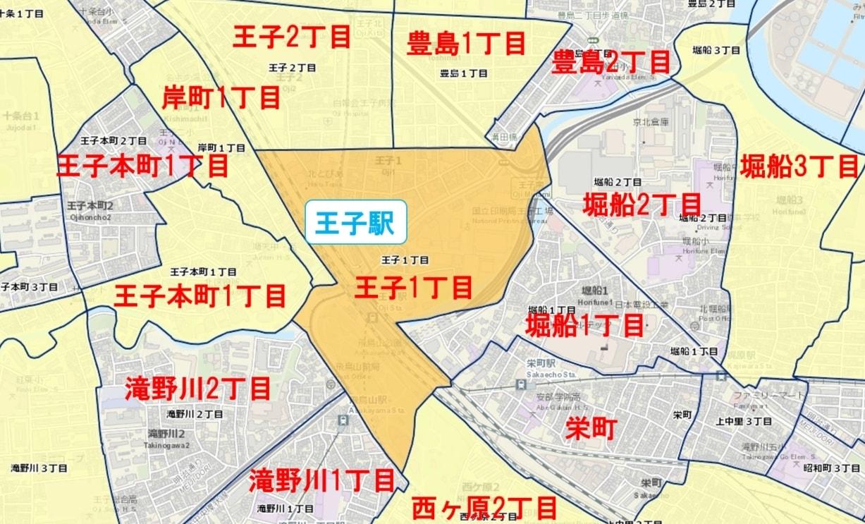 王子駅周辺の粗暴犯の犯罪件数マップ