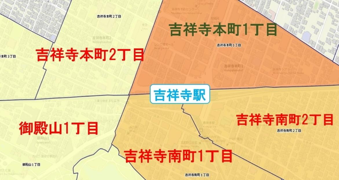 吉祥寺駅周辺の粗暴犯の犯罪件数マップ