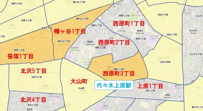 代々木上原駅周辺の粗暴犯の犯罪件数マップ