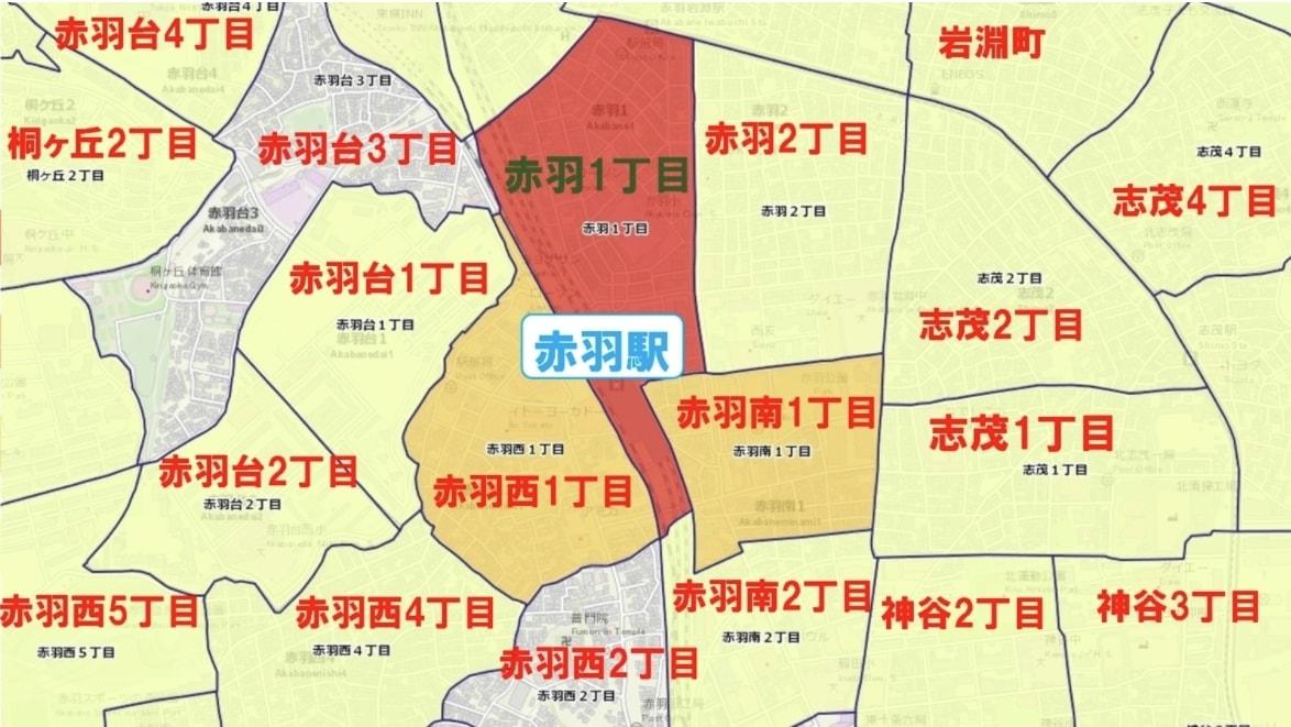 赤羽駅周辺の粗暴犯の犯罪件数マップ