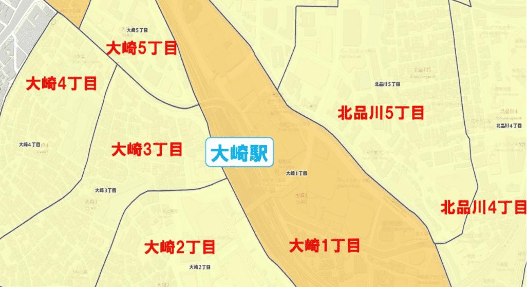 大崎駅周辺の粗暴犯の犯罪件数マップ