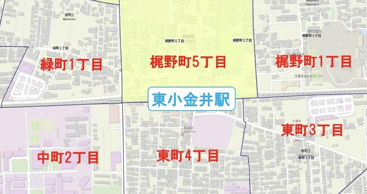 東小金井駅周辺の粗暴犯の犯罪件数マップ