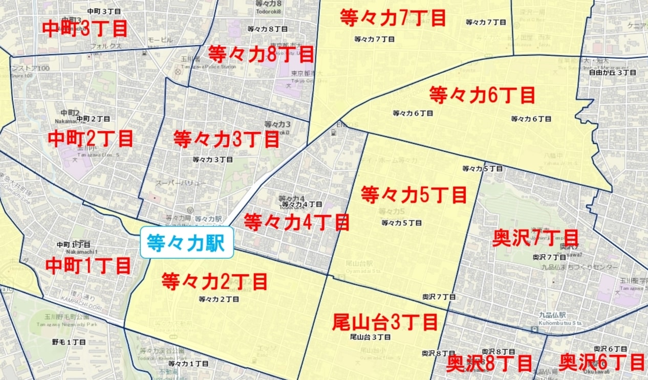 等々力駅周辺の粗暴犯の犯罪件数マップ