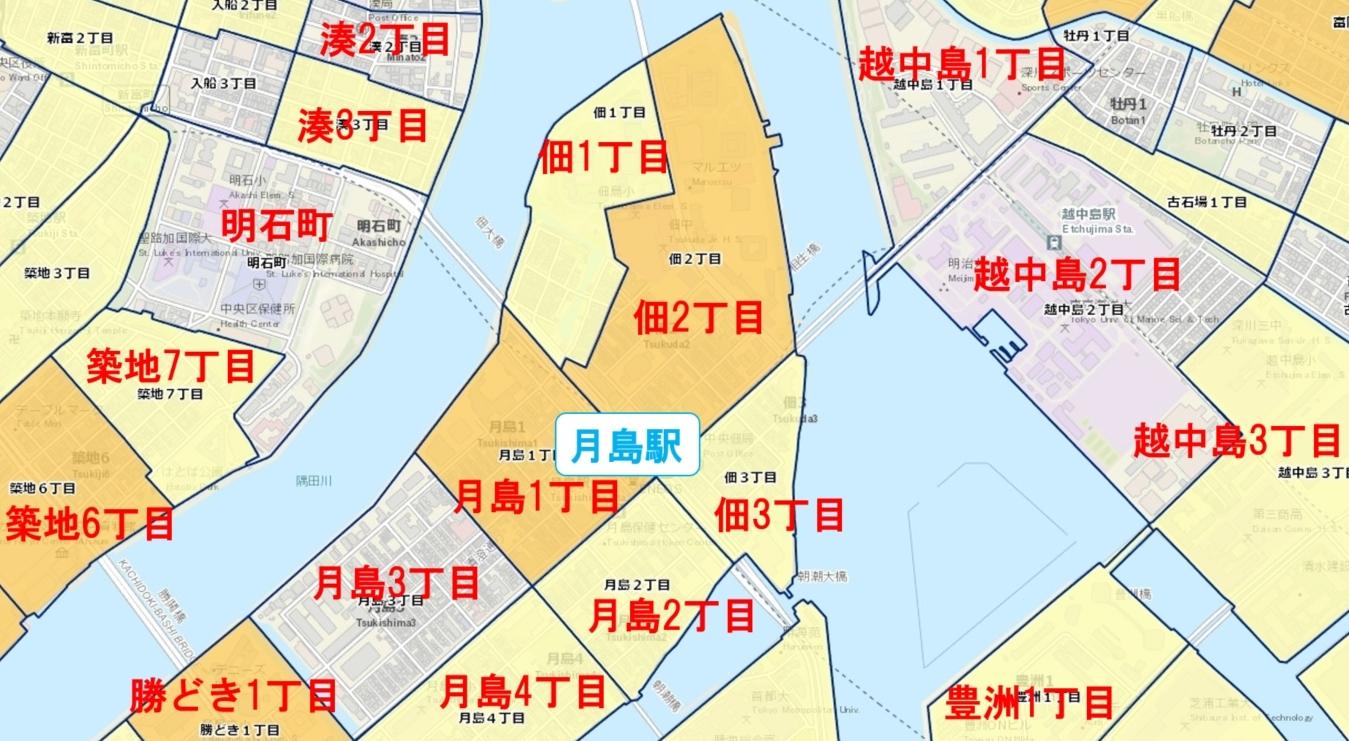 月島駅周辺の粗暴犯の犯罪件数マップ