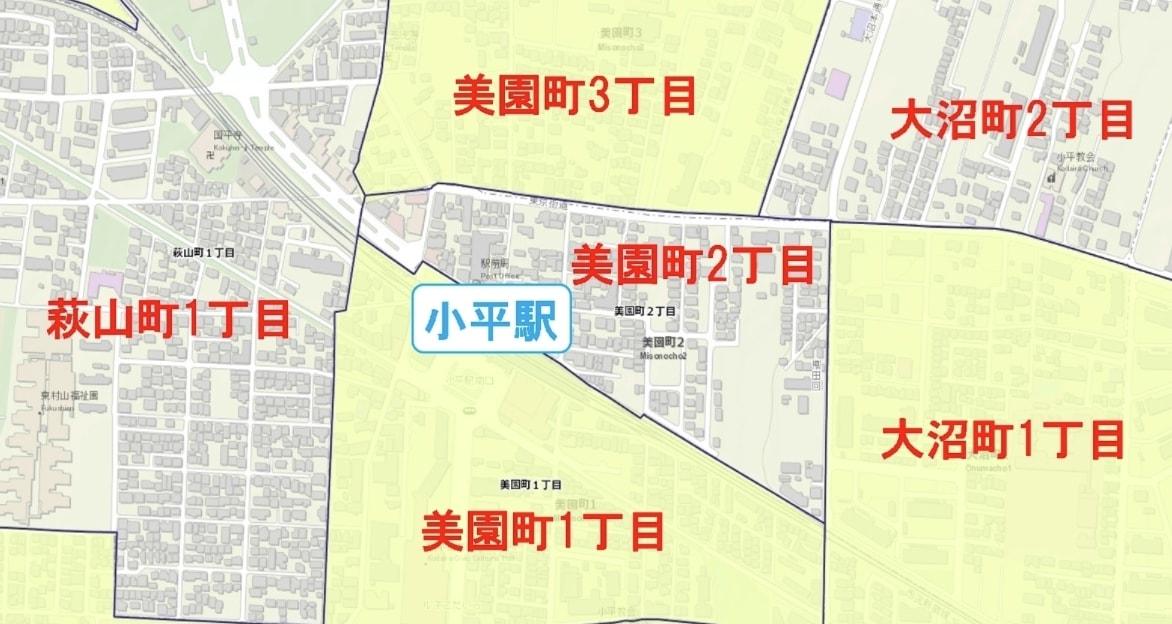 小平駅周辺の粗暴犯の犯罪件数マップ