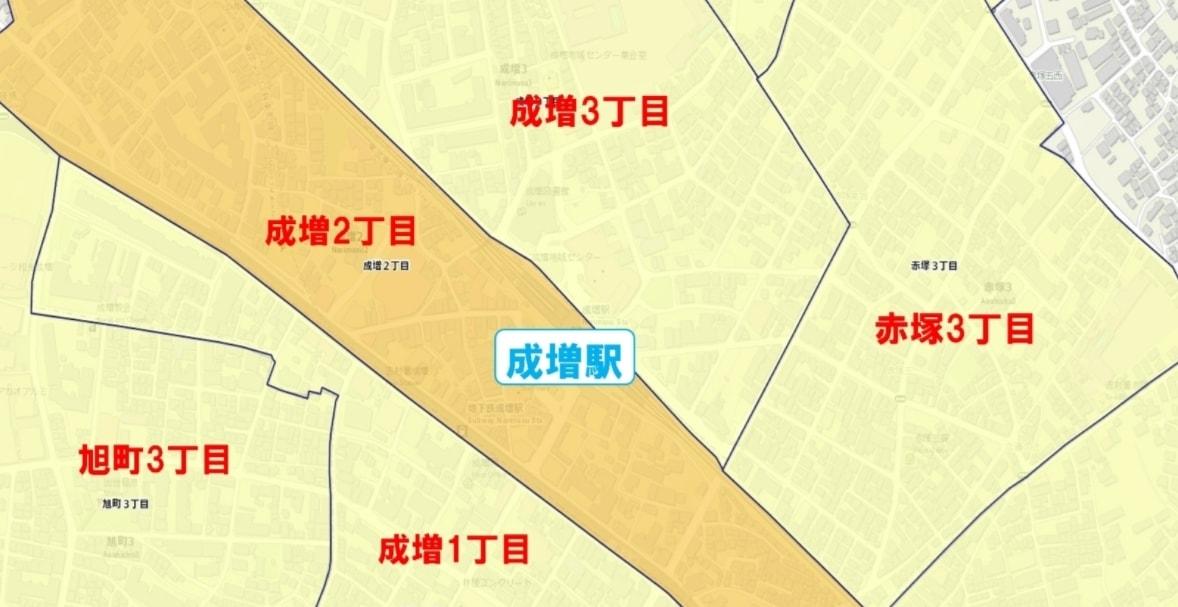 成増駅周辺の粗暴犯の犯罪件数マップ