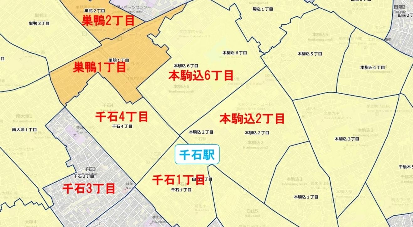 千石駅周辺の粗暴犯の犯罪件数マップ