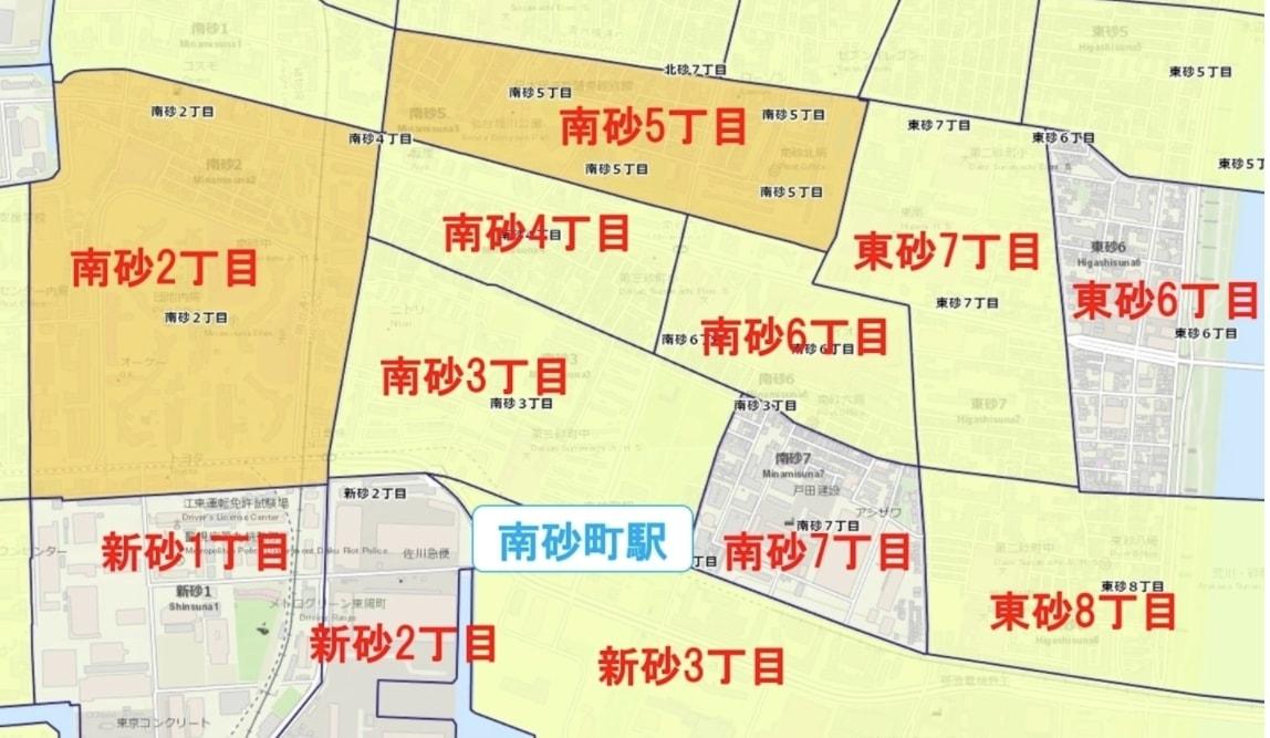 南砂町駅周辺の粗暴犯の犯罪件数マップ