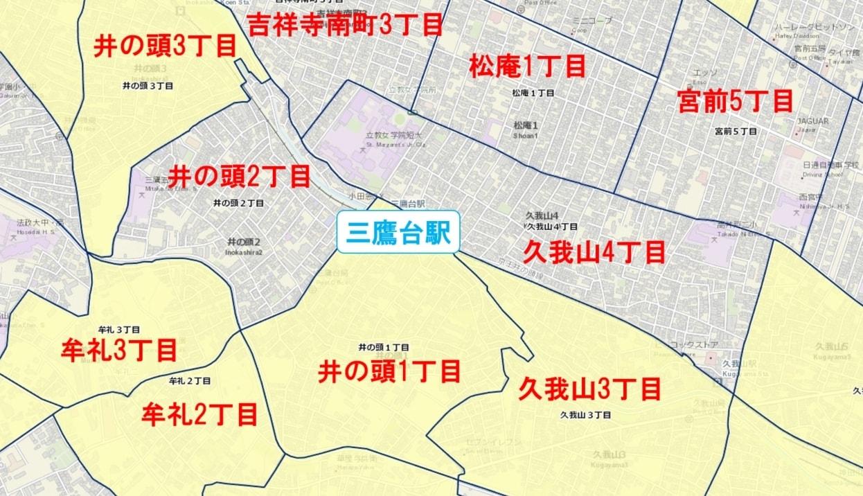 三鷹台駅周辺の粗暴犯の犯罪件数マップ