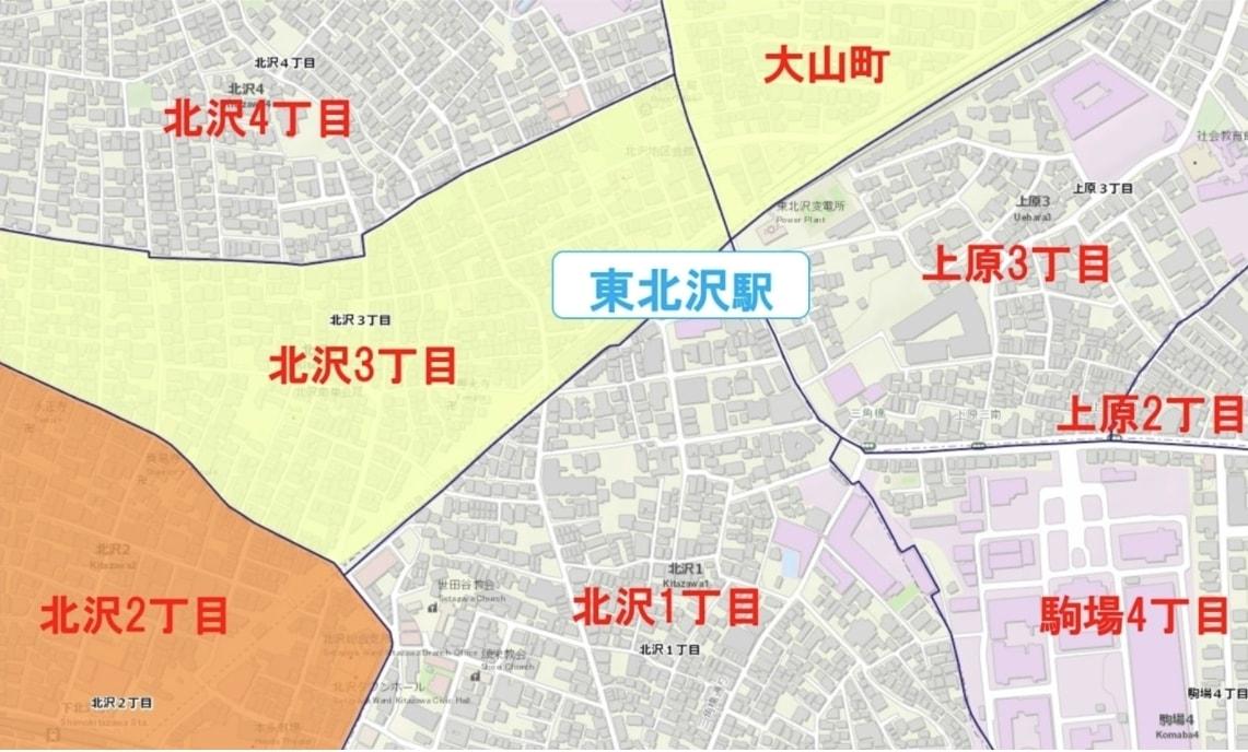 東北沢駅周辺の粗暴犯の犯罪件数マップ