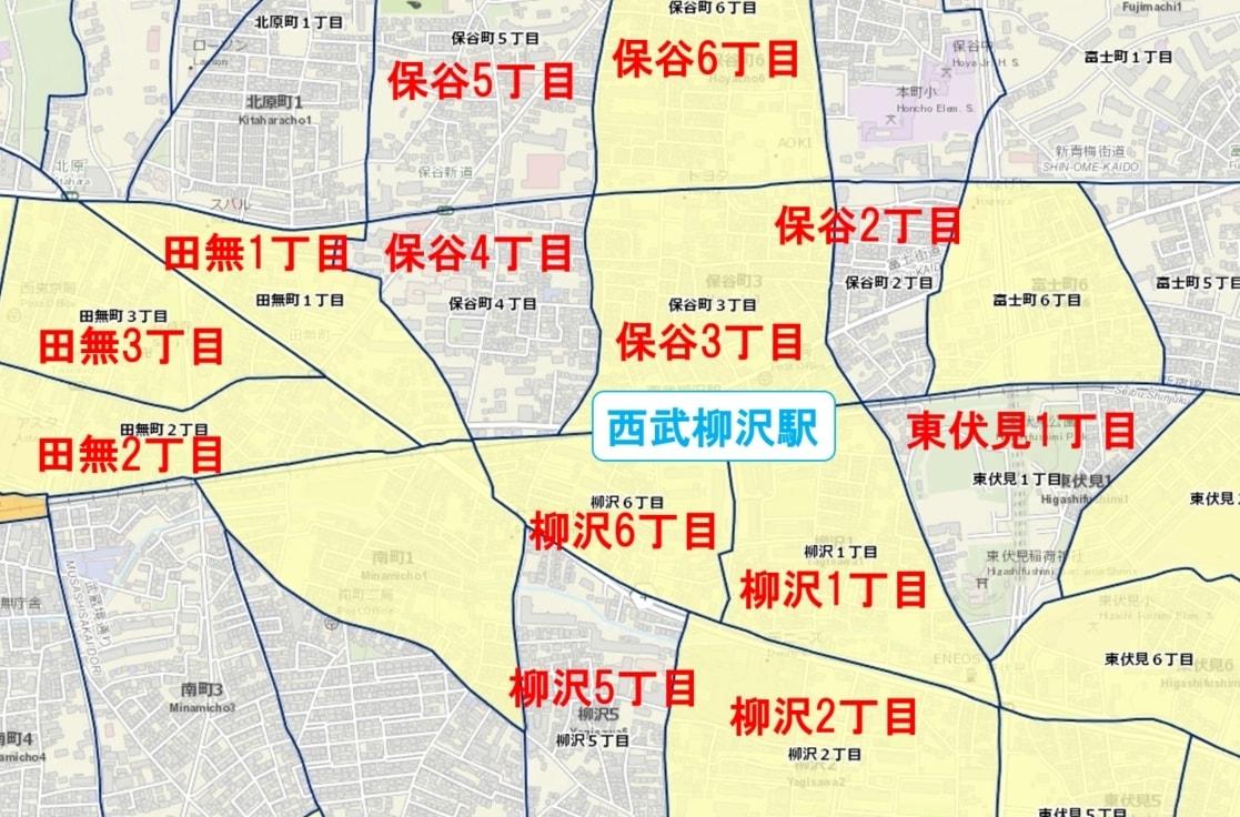 西武柳沢駅周辺の粗暴犯の犯罪件数マップ