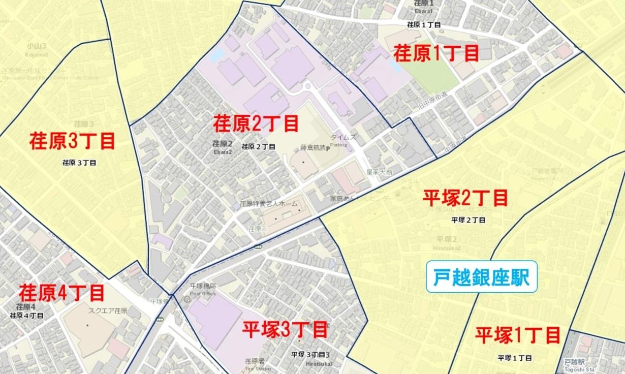 戸越銀座駅周辺の粗暴犯の犯罪件数マップ