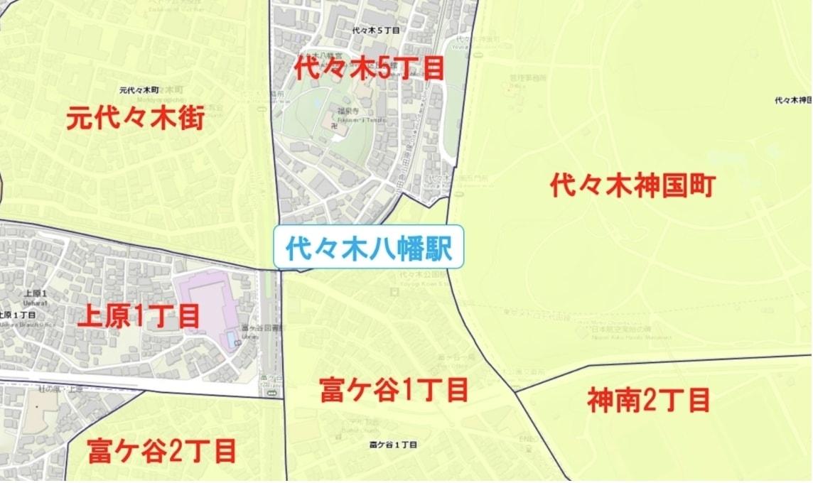 代々木八幡駅周辺の粗暴犯の犯罪件数マップ