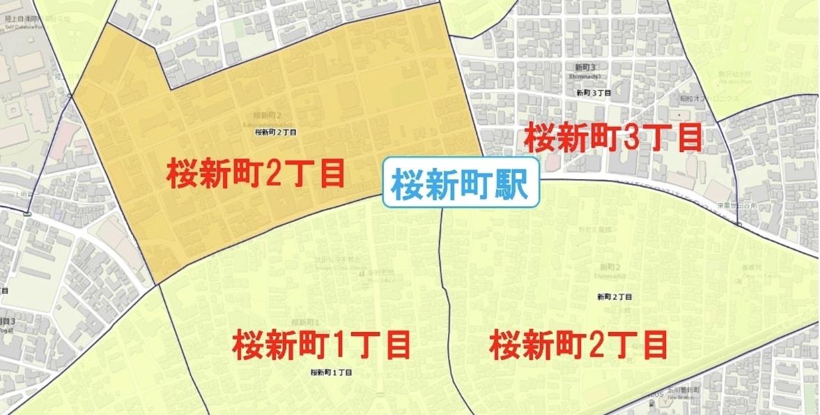 桜新町駅周辺の粗暴犯の犯罪件数マップ