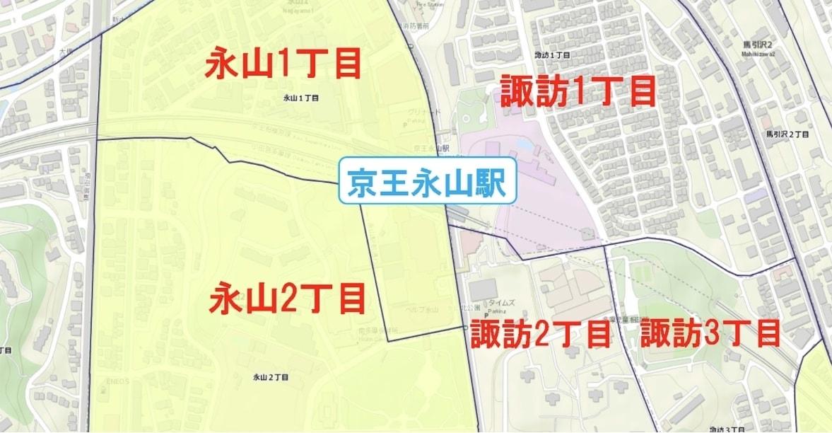 京王永山駅周辺の粗暴犯の犯罪件数マップ