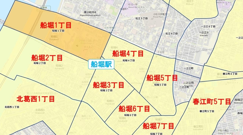 船堀駅周辺の粗暴犯の犯罪件数マップ
