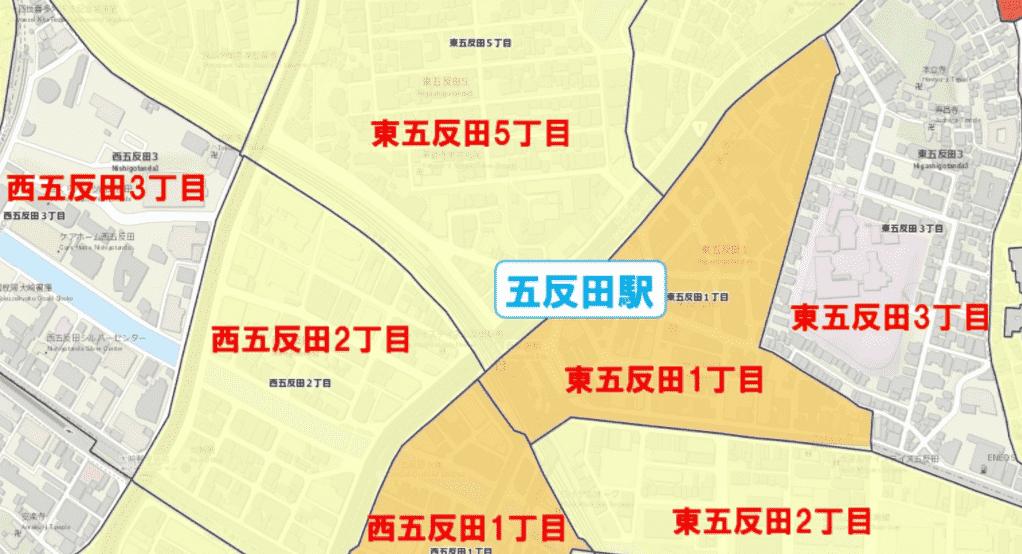 五反田駅周辺の粗暴犯の犯罪件数マップ