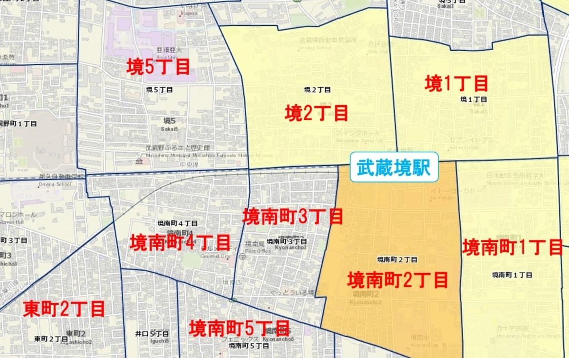 武蔵境駅周辺の粗暴犯の犯罪件数マップ